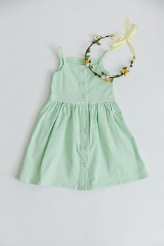 Soft timeless dress that can be worn over and over again with a button down front and circle skirt. Length from top of bodice to skirt hem Waist 9 Little Girl Summer Dresses, Little Girls, Girls Dresses, Summer Tank Tops, Summer Looks, Mint Green, Poppy, Rompers, Spandex