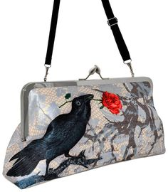 The Raven. Printed Edgar Allan Poe clutch