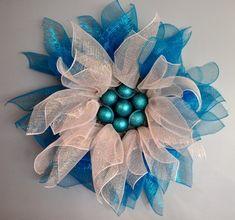 Winter Snow Flower Deco Mesh Wreath | aftcra