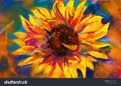 Original Pastel Painting On Cardboardyellow Sunflower Stock ...