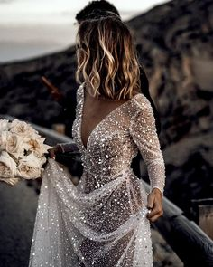 Luxury A Line Tulle Wedding Dresses Crew Neck Sheer Long Sleeve Beach Bohemian Bridal Gowns sold by bettybridal on Storenvy Dream Wedding Dresses, Wedding Gowns, Wedding Dress Sparkle, Wedding Bride, Backless Wedding, Tulle Wedding, Bridal Gowns, Backless Gown, Sheer Wedding Dress