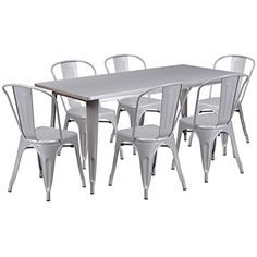 Flash Furniture 315 x 63 Rectangular Silver Metal IndoorOutdoor Table Set with 6 Stack Chairs >>> Click image for more details.-It is an affiliate link to Amazon. #DiningSets