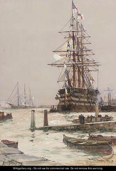 The training ship HMS St Vincent lying off Gosport - Charles Edward Dixon.: