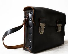 AMAZING  french real leather MESSENGER BAG  French by RueDesLouves, $160.00