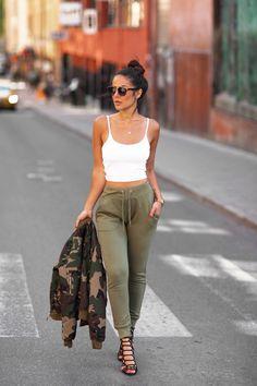 Pinterest: eighthhorcruxx. White vest top and khaki trousers. FASHION BLOGGER STREET STYLE