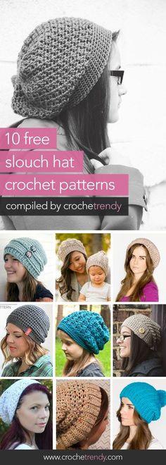 10 Free Slouch / Slouchy Hat Patterns   via Crochetrendy: