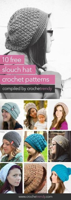 10 Free Slouch / Slouchy Hat Patterns | via Crochetrendy: