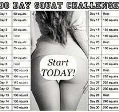 Squat Challenge, Im currently doing this, on day 7 and I already have results!!!! DO IT, you deserve it :)