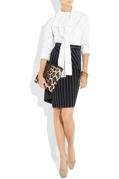 Vivienne Westwood Anglomania|Jabot Bow cotton-blend shirt|NET-A-PORTER.COM