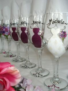 Wedding party simply painted wine glasses