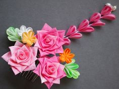 SALE Pink Rose Flower Comb Kanzashi WAS 80 by MizuSGarden on Etsy