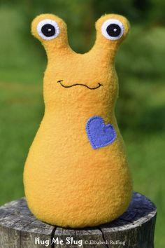 Handmade Slug, Stuffed Animal Plush Doll Art Toy, Hug Me Slug, Personalized Tag, Gold, Cobalt Blue Fleece, 9 inch, Ready-made