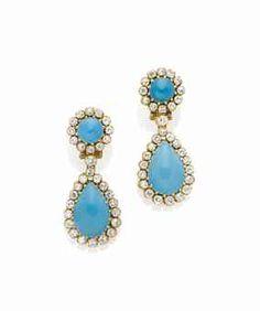 Turquoise and diamond earrings