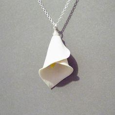 Pearl White Calla Lily Pendant on Black Cord Necklace  Silver