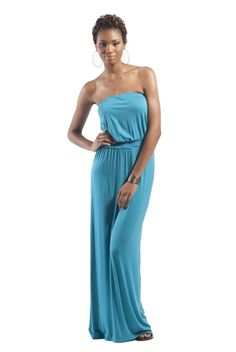Clothing for Tall Women: Isabella Strapless Maxi Dress in Turquoise - #tallmaxidress