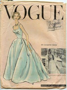 jaques heim   1950s Jacques Heim Evening Gown Pattern Vogue Paris Original 1343 ...
