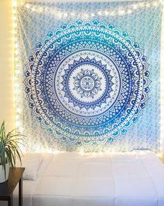 Blue & Green Watercolor Mandala Tapestry