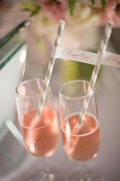 These pink champagne cocktails are pretty, minus the straws and flags.
