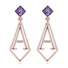Fashion Earrings Women Korean Geometry Rose Gold Plated Alloy Zircon 5.5X5.5CM