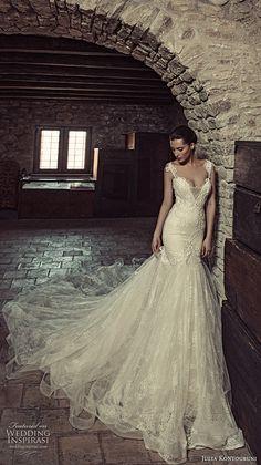 julia kontogruni 2017 bridal sleeveless strap deep v neck heavily embellished bodice glamorous elegant fit and flare wedding dress low back long train (9) mv