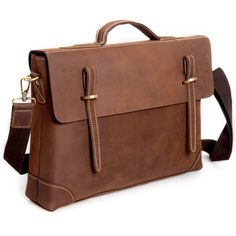 "Vintage Handmade Antique Crazy Horse Leather Briefcase / 14"" Laptop or 15"" MacBook Bag"