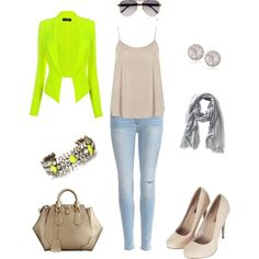 """NEON DAYS/CASUAL DAYTIME OUTFIT"" by prudence-sarah on Polyvore"