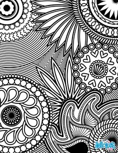 Paisley, Hearts and Flowers Anti-stress Coloring Design coloring page