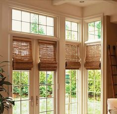 Woven Wood Shades from Budget Blinds come in a wide variety of beautiful styles. Schedule a free in-home consultation to see our full line of Woven Wood Shades. Ask about installation. Wooden Shades, Door Shades, Interior Barn Doors, French Door Windows, French Doors Interior, French Door Window Treatments, Door Coverings, Woven Wood Shades, Sliding Glass Door