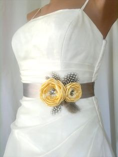 Handcraft Canary Yellow Two Flowers With Feathers Wedding Bridal Sash Belt on Etsy, $39.50... thought would be cute for the flower girl dresses what we were talking about @Danielle Lampert L'Ecuyer