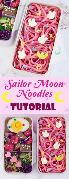 Sailor Moon Noodles Bento Box Learn exactly how to make this gorgeous character bento box thats fit for a moon princess Featuring super easy naturally colored pink noodl. Bento Kawaii, Cute Bento Boxes, Bento Box Lunch, Lunch Meals, Lunches, Bento Box For Kids, Lunch Boxes, Recipe For 100, Japanese Bento Box