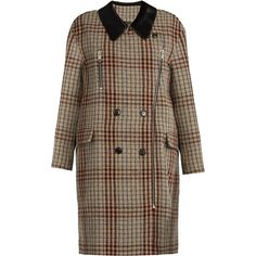 Isabel Marant Friso checked contrast-collar oversized coat (£890) ❤ liked on Polyvore featuring outerwear, coats, beige multi, beige wool coat, wool coat, brown wool coat, beige coat and brown coat
