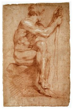GIAN LORENZO BERNINI Seated Male Nude, Red chalk heightened with white chalk on buff laid paper 16 × 10 in × cm Courtesy of the Princeton University Art Museum Human Figure Drawing, Figure Sketching, Life Drawing, Painting & Drawing, Annibale Carracci, Gian Lorenzo Bernini, Renaissance Kunst, Drawing Studies, Anatomy Art