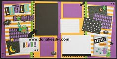 Jeepers Creepers Halloween Monster Beware Trick or Treat Two Page Scrapbook…