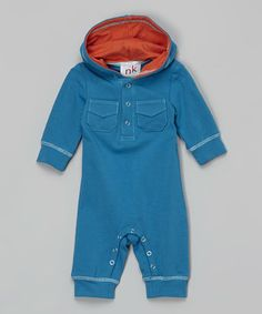 Take a look at this Teal & Orange Hooded Playsuit - Infant on zulily today!