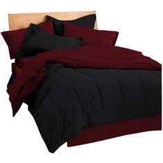 Reversible Comforter Color: Ebony / Burgundy, Size: King (74 CAD) ❤ liked on Polyvore featuring home, bed & bath, bedding, comforters, maroon bedding, maroon comforter, black king size comforter, king size comforter and reversible comforter