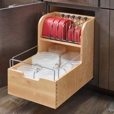 Features:  -(1) Wood organizer, dividers, and (1) set of blumotion slides.  -75 lbs Full-extension blumotion slide system.  -Adjustable dividers to accommodate all sorts of lid sizes.  -Furniture grad