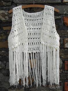 Vintage 70s crochet knitted long fringed Waistcoat  Vest Hippie hippy top sleeveless tank Festival .. S 8 10 ...cream