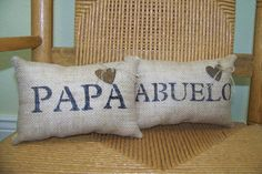 Papa pillow Abuelo pillow burlap pillow by KelleysCollections