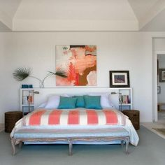 Impressive modern house design in Cadiz, Spain @Karen Mynier   Love the coral and turquoise with the art piece above the bed.