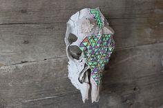 Triangles and Lightning on buck skull by gretelsheaddress on Etsy, $85.00
