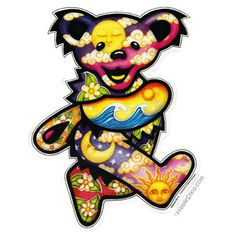 Grateful Dead - Jumbo Day/Night Dancing Bear Bumper Sticker on Sale for $5.99 at HippieShop.com