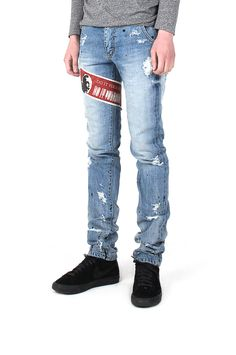 """monument_P Light Blue Skateborder Denim by Cogito 194,000KRW Destroyed light bluejean with graphic by Cogito 1st collection """"Do It Yourself"""". destroy inspired by skateborders"""
