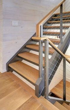 Connecticut Barn - Pool House - Farmhouse - Staircase - Bridgeport - by Keuka Studios, Inc Wood Handrail, Steel Railing, Cable Railing, Oak Stairs, Metal Stairs, Stair Railing Design, Staircase Railings, Floating Staircase, Modern Staircase