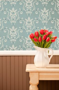 Simple, Pretty Damask Wall Stencil | Serenity Damask Stencil | http://www.royaldesignstudio.com/