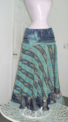 "To make this ""Minuit Turquoise"" jean skirt, took a pair of jeans in a dark midnight blue wash.Next,made a dual layered silk skirt bottom and ad… – Aquas Diy Clothing, Sewing Clothes, Modest Clothing, Modest Outfits, Skirt Outfits, Summer Outfits, Turquoise Jeans, Mode Jeans, Denim Ideas"