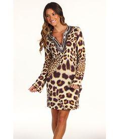 Nicole Miller Leopard Spots Matte Jersey Dress Multicolor - 6pm.com