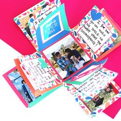 A super easy DIY explosion box tutorial with detailed instructions, ideas and even a printable template! Use this tutorial to learn how to make your own exploding box card and fill the 24 flaps with pictures and personalized messages for your sweetheart!
