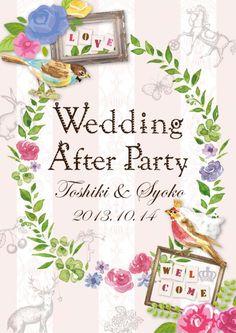 【オーダーメイド/デザインB】結婚式 ウェルカムボード パーティー/お祝い/DM/カード