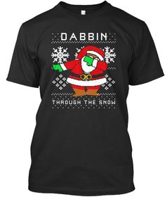 Dabbing Through The Snow Santa Black T-Shirt Front
