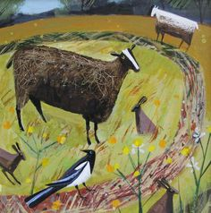 -Magpie Field -limited edition of signed giclee prints- mounted size - Mary Sumner Insect Art, Animal Quilts, Naive Art, Fish Art, Wildlife Art, Artist At Work, Art Images, Giclee Print, Illustration Art